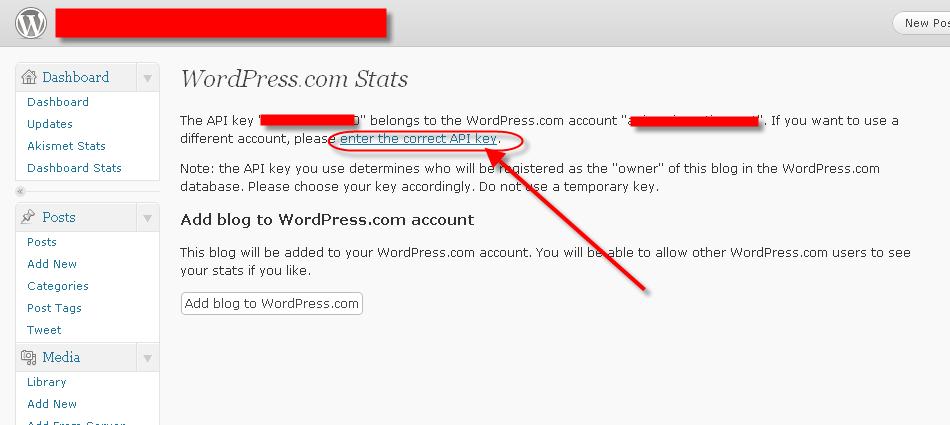 API key belongs to the WordPress.com account