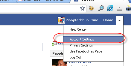 Change Facebook Step 1