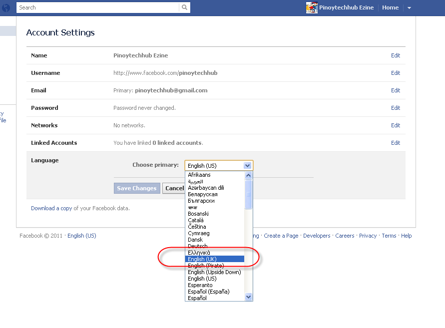 Change Facebook Step 3