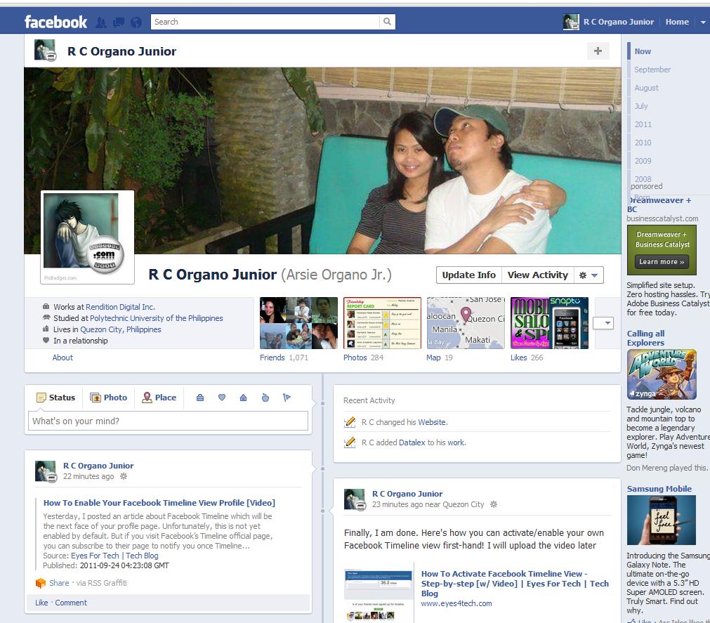 My Timeline Page