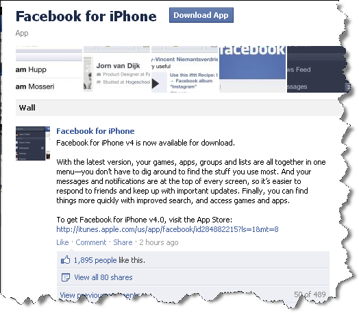 Facebook v4 for iPhone Facebook 4.0 For iPhone Is Now Ready For Download   New Search Features
