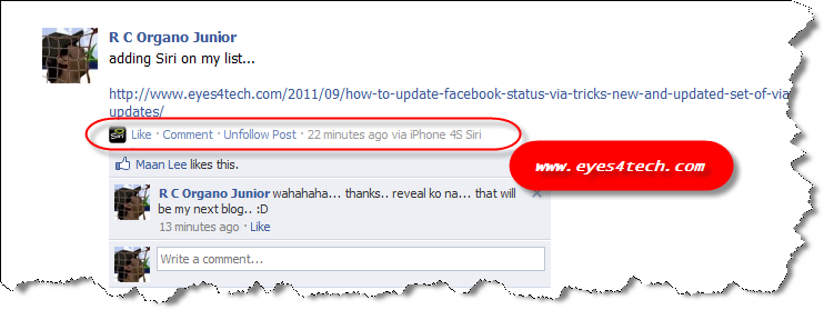 Update Facebook Status Tricks