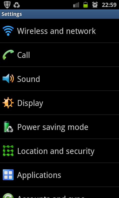 Settings - Samsung Galaxy S II