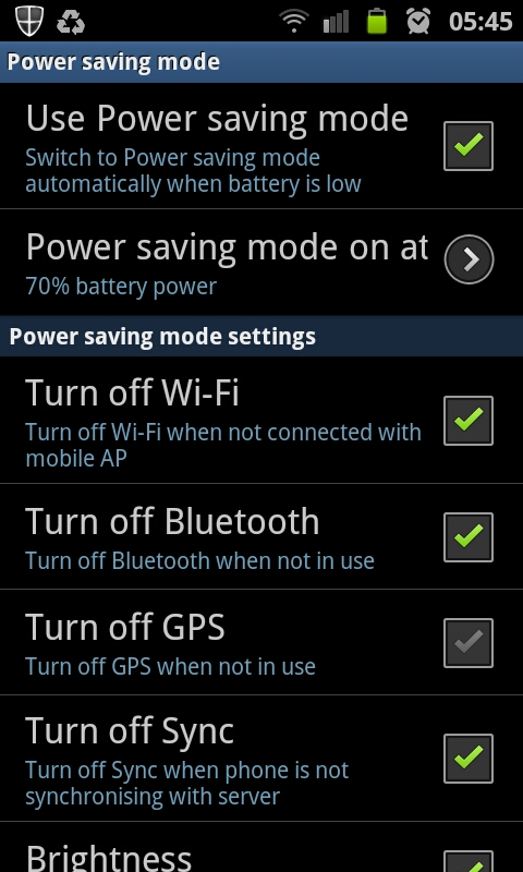 Power Saving Settings