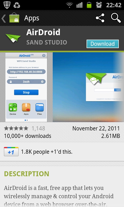 Get AirDroid from Android Market