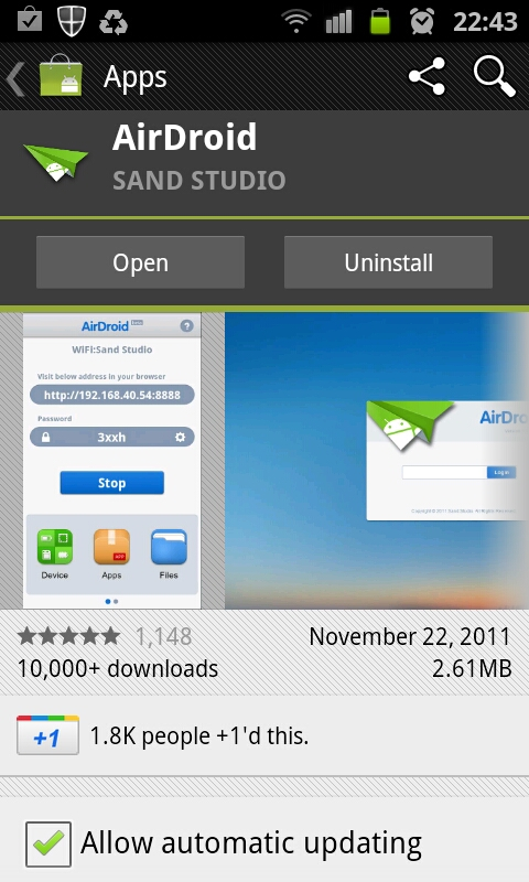 Activate or Open AirDroid