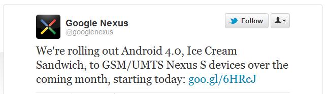 Android 4.0 ICS Google Nexus S