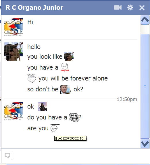 FB Chat Emoticon response