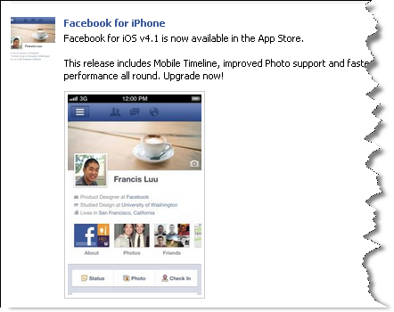 Facebook for iPhone v4.1