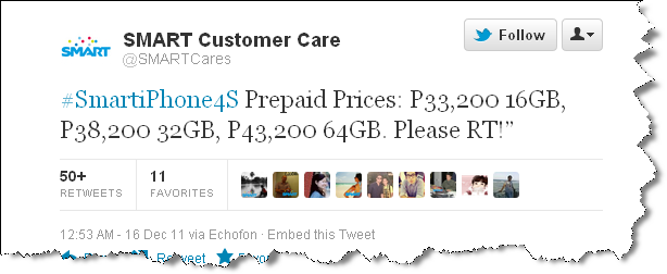 SMARTCare Tweets iPhone 4S prices Free iPhone 4S 16GB For SMART Plan 2499   SMART iPhone 4S Plans Revealed