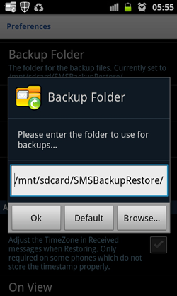 SMS Backup and Restore-Backup Directory