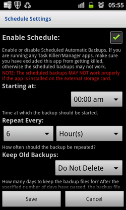 SMS Backup and Restore-Enable Scheduler