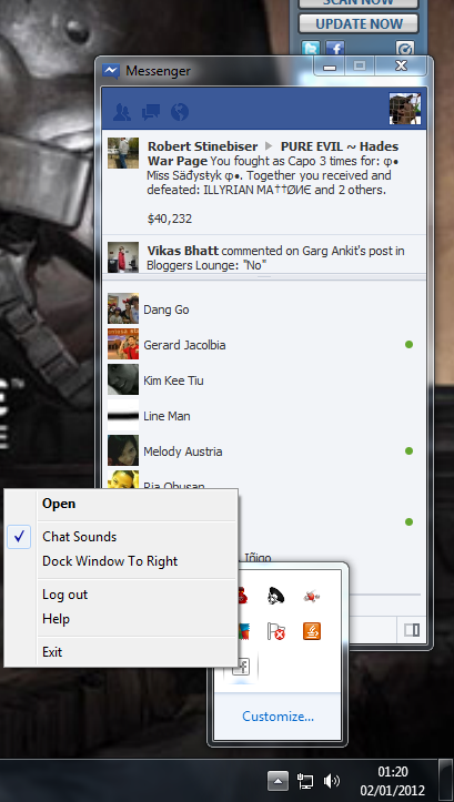 Facebook Messenger For Windows - Tray Bar