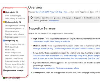 Google Page Speed Online Result