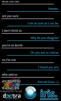 IRIS Conversation 6 [Android App Review] IRIS The Alternative Siri for Android Partners With ChaCha Database