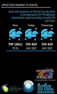 Iris On Weather [Android App Review] IRIS The Alternative Siri for Android Partners With ChaCha Database