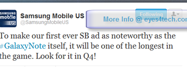 Samsung Galaxy Note Ads Will Be On Super Bowl XLVI 2012