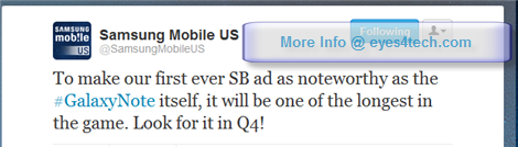 Samsung Mobile US Biggest Ad in Super Bowl