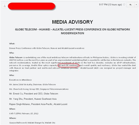 GLOBE TELECOM - HUAWEI - ALCATEL-LUCENT 4G LTE