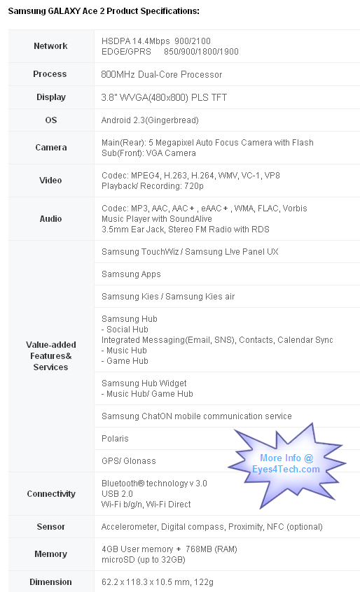 Samsung Galaxy Ace 2 Specifications