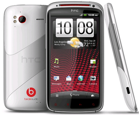 White HTC Sensation XE with Beats Audio