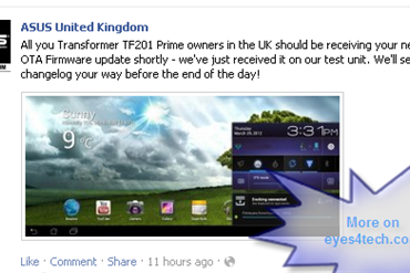 ASUS Transformer Prime TF201 Firmware Update Lands On UK