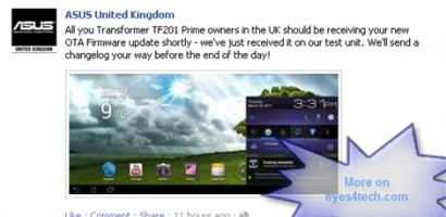 ASUS Transformer Prime TF201 Firmware Update Lands On UK