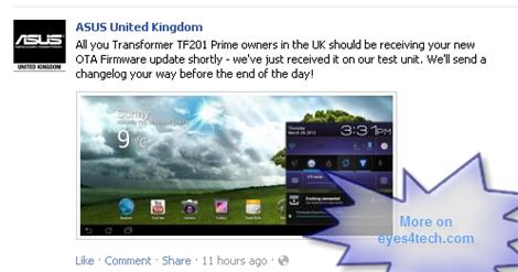 ASUS TF201 Prime OTA Firmware update