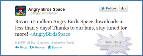 Angry Birds Space 10Million Downloads