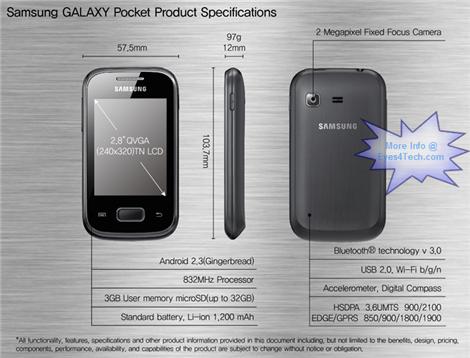 Samsung Galaxy Pocket Specs