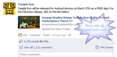 Officially – Temple Run For Android Free App Will Be Released On March 27