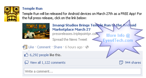 Temple Run For Android Press Release Officially   Temple Run For Android Free App Will Be Released On March 27