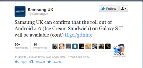 Samsung UK Tweets That ICS is now deployed