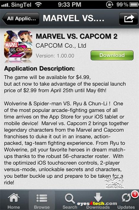Marvel VS Capcom 2 iPhone