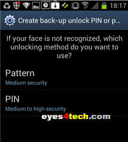 Samsung Galaxy S II Face Unlock Additional Security