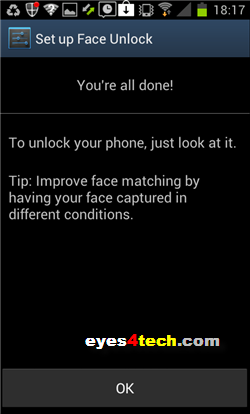 Samsung Galaxy S II Face Unlock Done