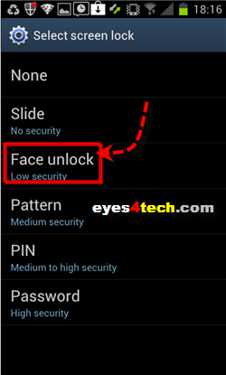 Samsung Galaxy S II Face Unlock Option