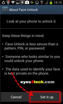Samsung Galaxy S II Face Unlock Setup