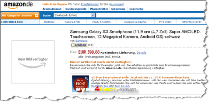 Samsung Galaxy S III Spotted On Amazon German Site For EUR 599.00