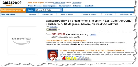 Samsung Galaxy S III Amazon Germany Samsung Galaxy S III Spotted On Amazon German Site For EUR 599.00