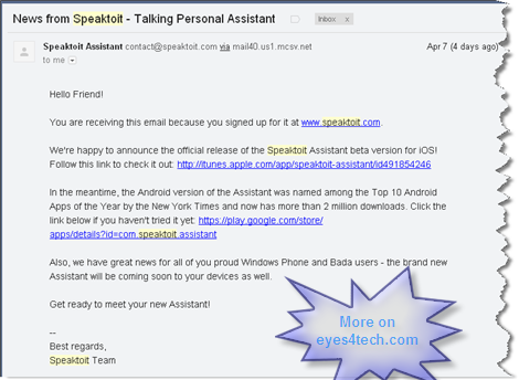 Speaktoit Assistant for Windows Phone