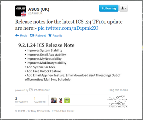 ASUS UK Release note ICS .24 TF101 update UK ASUS Transformer TF101 ICS .24 Update Rolling Out Today