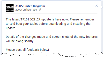 ASUS UK TF101.24 ICS update UK ASUS Transformer TF101 ICS .24 Update Rolling Out Today