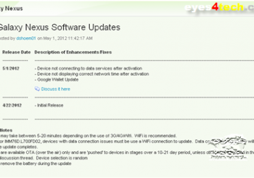 Sprint Samsung Galaxy Nexus Receives OTA Update