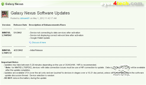 Galaxy Nexus Software Updates IMM76D.L700FD02