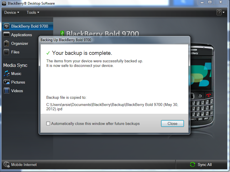 Backup Complete Blackberry Desktop Manager