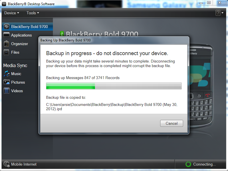 Backup Progress Blackberry Desktop Manager