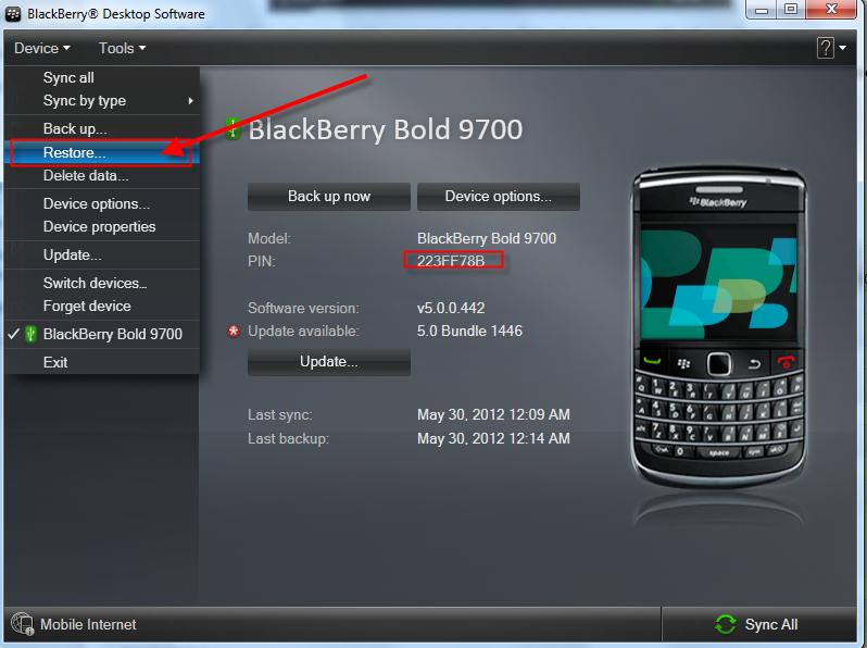 Blackberry Bold 9700 Restore