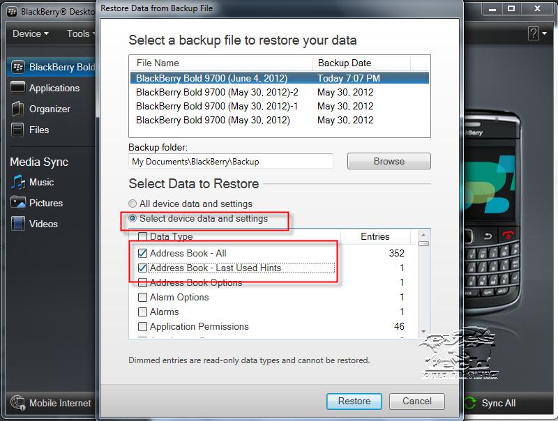 Blackberry Bold 9700 Selective Restoration