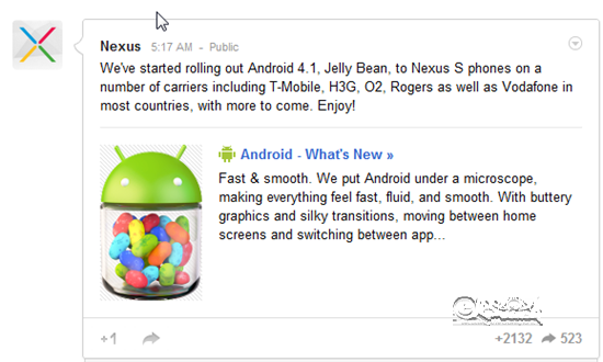 Nexus announced Android 4.1 Jelly Bean Update